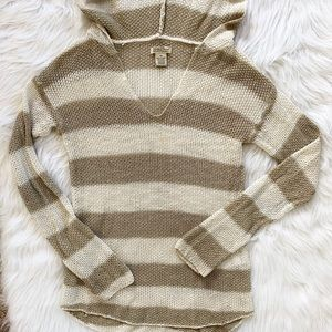 Lucky Brand Striped Open Knit Hooded Sweater Top